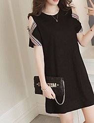 cheap -Women's Plus Size Going out Basic Street chic Loose Sheath Dress - Solid Colored Black Mini Off Shoulder