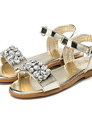 cheap -Girls' Shoes Patent Leather Summer Flower Girl Shoes Slingback Sandals Sparkling Glitter Hook & Loop for Casual Dress Gold Silver