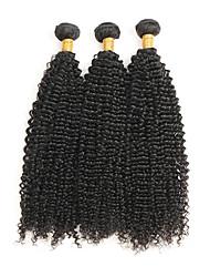Недорогие -Бразильские волосы Кудрявый вьющиеся Ткет человеческих волос 3шт 0.3