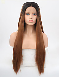 cheap -Synthetic Lace Front Wig Straight Synthetic Hair Natural Hairline Brown Wig Women's Long Natural Wigs Lace Front