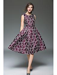economico -Per donna Vintage Taglia piccola Linea A Fodero Vestito - A pieghe, Fantasia floreale Al ginocchio Vita alta
