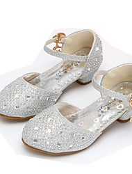 cheap -Girls' Shoes Sparkling Glitter Spring Comfort / Flower Girl Shoes Heels Rhinestone / Buckle for Gold / Silver / Pink