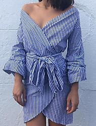 baratos -Mulheres Para Noite Moda de Rua Bainha Vestido - Fenda, Listrado Ombro a Ombro Cintura Alta Acima do Joelho Azul