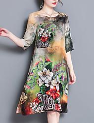 abordables -Femme Grandes Tailles Chinoiserie Ample Robe - Imprimé, Fleur