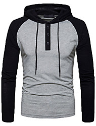 cheap -Men's Sports Long Sleeves Hoodie - Solid Colored Color Block Hooded