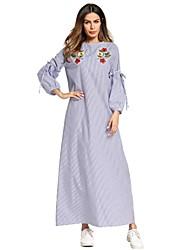 baratos -Mulheres Oversized Solto Vestido - Básico Bordado, Listrado Longo