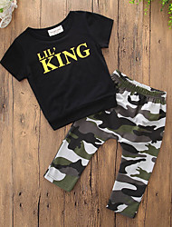 cheap -Boys' Daily Sports Print Clothing Set, Cotton Polyester Summer Short Sleeves Simple Casual Black