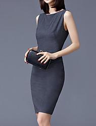 abordables -Mujer Sofisticado Chic de Calle Corte Bodycon Vestido - Retazos, Un Color Sobre la rodilla