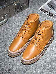 Недорогие -Муж. обувь Искусственное волокно Весна Осень Удобная обувь Ботинки для Повседневные Черный Серый Коричневый
