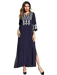 abordables -Femme énorme Ample Robe - Basique, Couleur Pleine Col en V Maxi