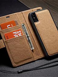 Недорогие -Кейс для Назначение Apple iPhone X / iPhone 8 Pluss / iPhone 8 Кошелек / Бумажник для карт / со стендом Чехол Однотонный Твердый Кожа PU / Своими руками