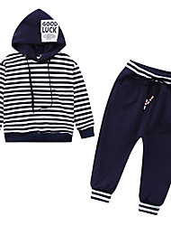 cheap -Boys' Daily Striped Clothing Set, Polyester Spring Long Sleeves Simple Blue Black