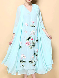 cheap -Women's Chinoiserie Cotton Chiffon Dress - Floral Print V Neck
