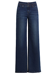 cheap -Women's Cotton Wide Leg Jeans Pants - Solid Colored Basic High Waist