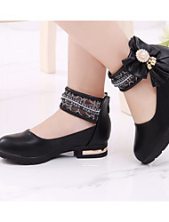 cheap -Girls' Shoes PU Spring Fall Tiny Heels for Teens Comfort Heels for Casual White Black Pink