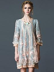 abordables -Femme Mince Ample Robe - Plissé, Couleur Pleine