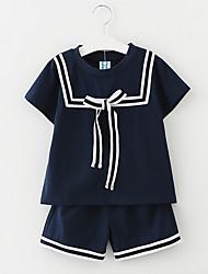 Недорогие -Дети Дети (1-4 лет) Девочки Простой Школа Полоски С короткими рукавами Набор одежды