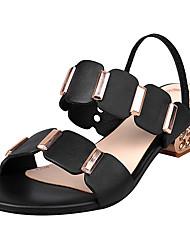 preiswerte -Damen Schuhe Leder Sommer Komfort Sandalen Blockabsatz Offene Spitze Runde Zehe Strass für Draussen Weiß Schwarz