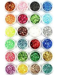 Недорогие -1 комплект / 1шт Искусственные советы для ногтей Блеск Пайетки 24 цвета маникюр Маникюр педикюр Блестящие