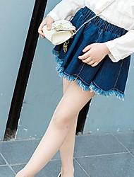 Недорогие -Девочки Юбка Повседневные Кожа особого типа Однотонный Весна Осень Секси Синий