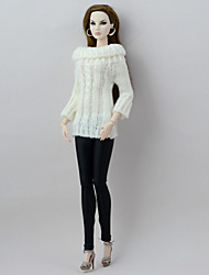 cheap -Seperate Bodies Pants Cardigans & Sweater For Barbie Doll White/Black Textile Artificial Wool Top Pants For Girl's Doll Toy
