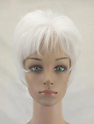 abordables -Pelucas sintéticas Recto Corte a capas Pelo sintético Entradas Naturales Blanco Peluca Mujer Corta Sin Tapa