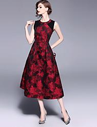 baratos -Mulheres Vintage Moda de Rua Evasê Vestido - Bordado, Floral Médio