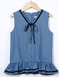 baratos -Menina de Vestido Diário Para Noite Sólido Estampado Primavera Verão Algodão Acrílico Poliéster Sem Manga Vintage Activo Azul