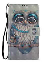 Недорогие -Кейс для Назначение Sony Xperia L2 Xperia XZ2 Бумажник для карт Кошелек со стендом Флип С узором Чехол Сова Твердый Кожа PU для Xperia