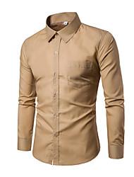 preiswerte -Herrn Solide-Retro Grundlegend Hemd