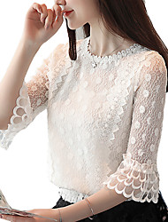 cheap -Women's Work Blouse - Solid Colored Lace Ruffle