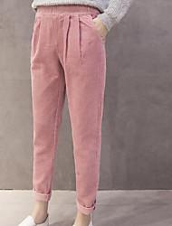 economico -pantaloni chino micro-elasticizzati da donna di media altezza, semplice molla in poliestere