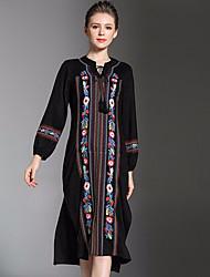 baratos -Mulheres Solto Vestido - Básico, Estampa Colorida