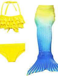 cheap -Mermaid Tail Swimwear Men's Women's Halloween Children's Day Festival / Holiday Halloween Costumes Yellow Solid Colored Mermaid Mermaid