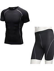 preiswerte -Herrn Active Set Kurzarm Kurze Hose Atmungsaktivität Kleidungs-Sets für Walking Polyester Weiß Schwarz Blau Rot/Weiß Grau S M L XL XXL
