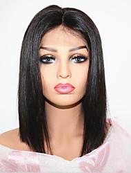 Недорогие -Не подвергавшиеся окрашиванию Лента спереди Парик Бразильские волосы Парик Стрижка боб / С пушком 130% Природные волосы Жен. Короткие Парики из натуральных волос на кружевной основе