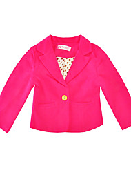 cheap -Girls' Daily Holiday Solid Suit & Blazer, Cotton Polyester Spring Fall Long Sleeves Fuchsia