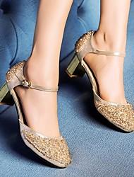preiswerte -Damen Schuhe PU Frühling Herbst Pumps Komfort High Heels Blockabsatz für Normal Rot Champagner