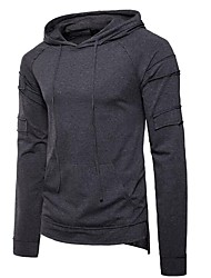 cheap -Men's Plus Size Cotton T-shirt - Solid Colored Hooded / Please choose one size larger according to your normal size. / Long Sleeve