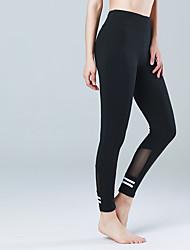 billiga Sport och friluftsliv-CONNY Dam Lappverk Yoga byxor - Svart sporter Mesh Cykling Tights / Leggings Pilates Sportkläder Stretch Elastisk