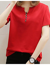cheap -Women's Basic Street chic Plus Size Blouse - Solid Colored V Neck