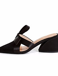 Недорогие -Жен. Обувь Нубук Весна Осень Удобная обувь Башмаки и босоножки На толстом каблуке для Черный Серый