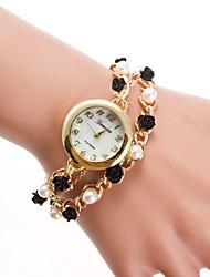 preiswerte -Damen Armband-Uhr Chinesisch Quartz Armbanduhren für den Alltag Legierung Band Perlen Modisch Gold