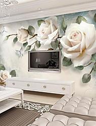 abordables -Fleur Décoration artistique 3D Décoration d'intérieur Rétro Moderne Revêtement, Toile Matériel adhésif requis Mural, Couvre Mur Chambre