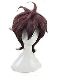 abordables -Pelucas sintéticas Rizado Corte a capas Pelo sintético Gradiente de Color Rojo Peluca Hombre Corta Sin Tapa