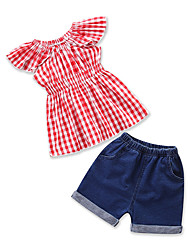 cheap -Girls' Daily Going out Solid Colored Print Clothing Set, Cotton Polyester Summer Sleeveless Cute Basic Red