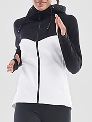preiswerte -Damen Patchwork Laufjacke - Weiß, Rosa, Grau Sport Jacke Langarm Sportkleidung Rasche Trocknung