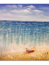 cheap -STYLEDECOR Modern Hand Painted Blue Sea Oil Painting on Canvas for  Sitting Room or Living Room
