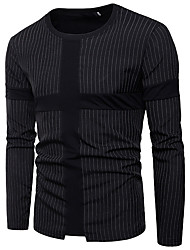 cheap -Men's Street chic Cotton Slim T-shirt - Striped Round Neck