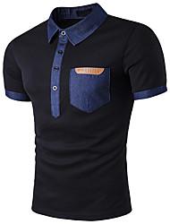 cheap -Men's Street chic Cotton Slim T-shirt - Color Block Stand / Short Sleeve